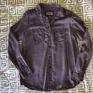 Express Boyfriend Shirt - Distressed Purple